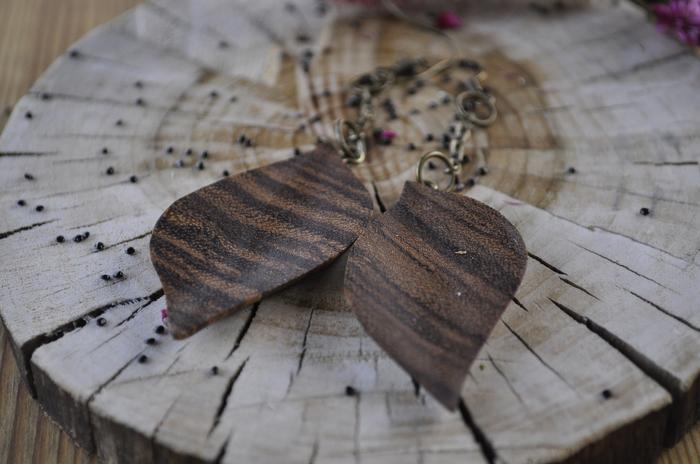 """Серьги """"осенние листья"""" из зебрано Своими руками, Рукоделие без процесса, Handmade, Серьги, Дерево, Длиннопост"""