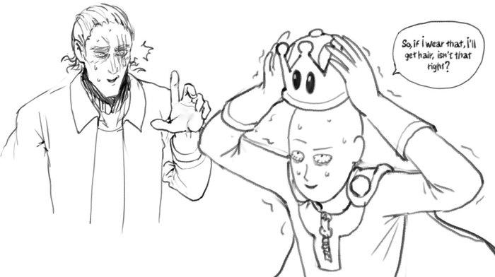 """""""То есть, если я надену это, то у меня появятся волосы, не так ли?"""" Anime Art, Аниме, Onepunchman, Bowsette"""