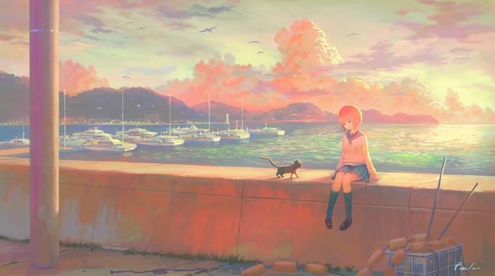 Pale light of day Anime Art, Anime Original, Причал, Кот, Набережная