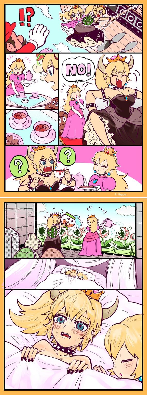 «Я ... я только что выиграла?» Super Mario, Bowsette, Bowser, Princess Peach, Комиксы, Супер корона, Длиннопост, Аниме, Не аниме