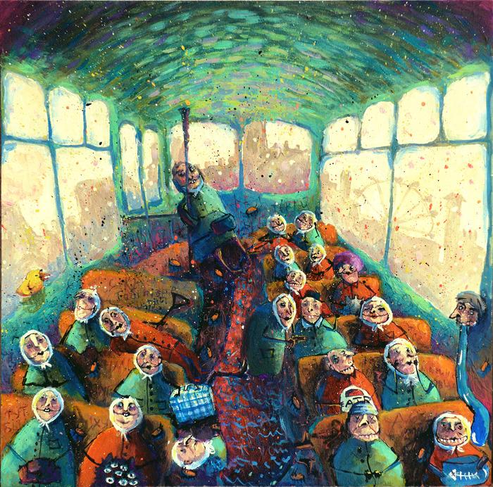 Бабушки Кати Виговской Картина, Бабушка, Юмор, Черный юмор, Кот, Акрил, Злые бабки, Бабки у подъезда, Длиннопост