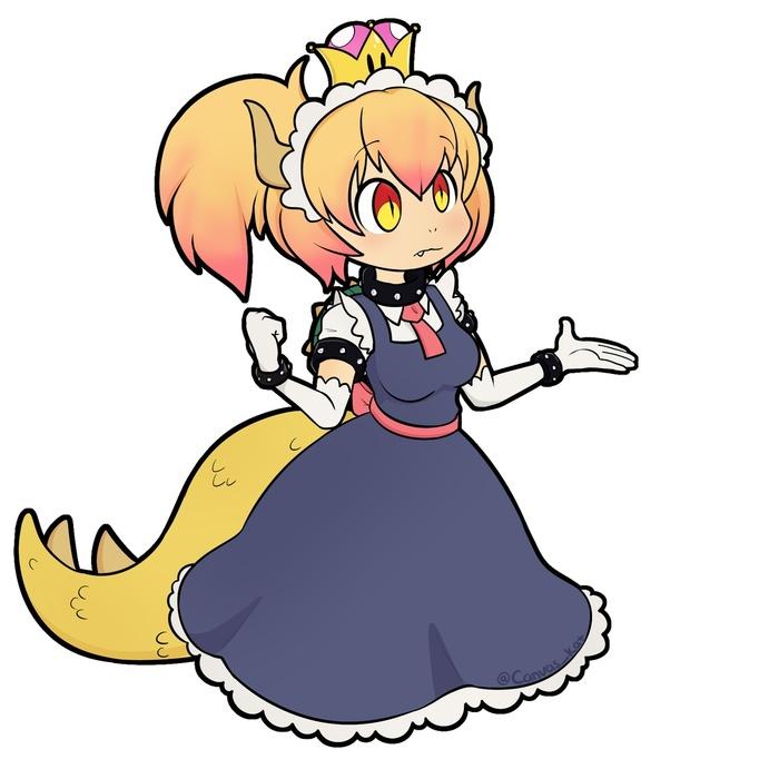 Два дракона Bowsette, Супер корона, Kobayashi-San chi no maidragon, Tooru, Crossover, Аниме, Anime Art