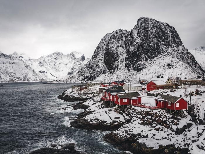 Норвегия, островХамнёй Норвегия, Скандинавия, Путешествия, Фотография, Зима, Деревня, Остров