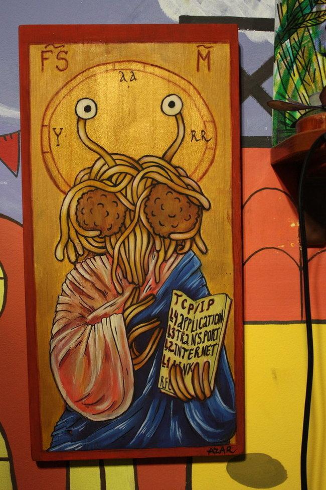 Иконы Летающего Макаронного Монстра ЛММ, Пастафарианство, Икона, Художество, Длиннопост