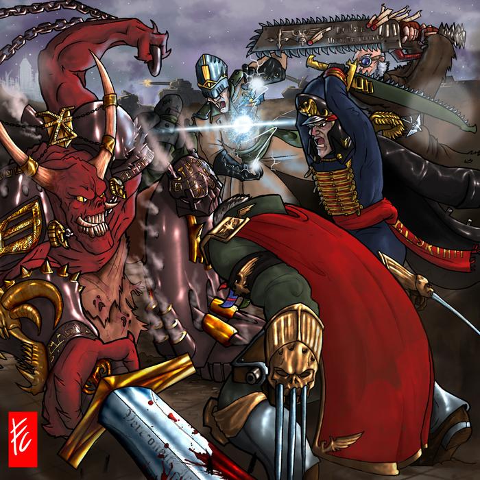 РаботыLordCarmi Warhammer 40k, Имперская гвардия, Chaos cultists, Dark Apostle, Космодесант, Wh art, Длиннопост