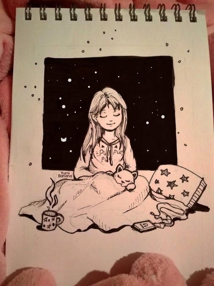 Спокойствие Арт, Традиционный арт, Рисунок, Inktober, Кот, Девочка, Спокойствие