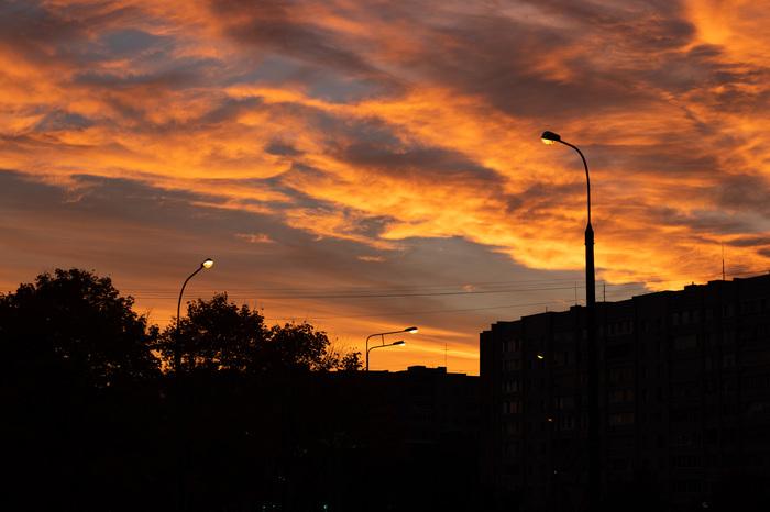 Вечерний закат и немного ночи. Обнинск, Закат, Пруд, Длиннопост