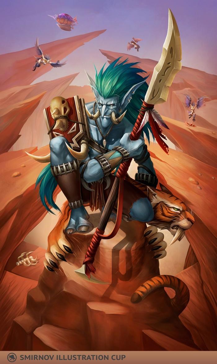Тролль-охотник в Дуротаре Blizzard, Warcraft, WOW, Тролль, Охотник, Smirnov illustration Cup, World of Warcraft