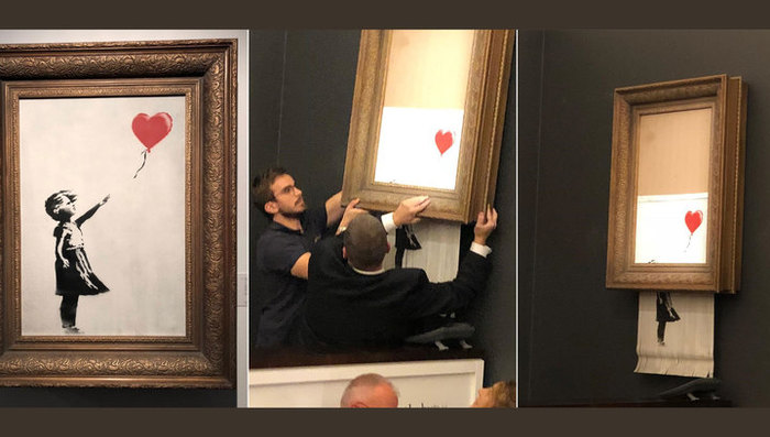Картина Бэнкси самоуничтожилась на аукционе Sothebys — как только ее продали за миллион фунтов Картина, Аукцион, Бэнкси, Художник, Видео
