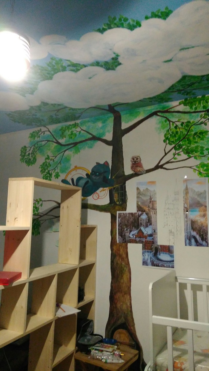 Роспись стены Рисунок на стене, Нойшванштайн, Чеширский кот, Акрил, Детская, Дерево, Длиннопост