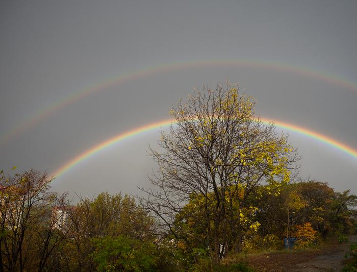 Невероятная радуга в Находке Радуга, Двойная Радуга, Находка, Море, Шторм, Длиннопост
