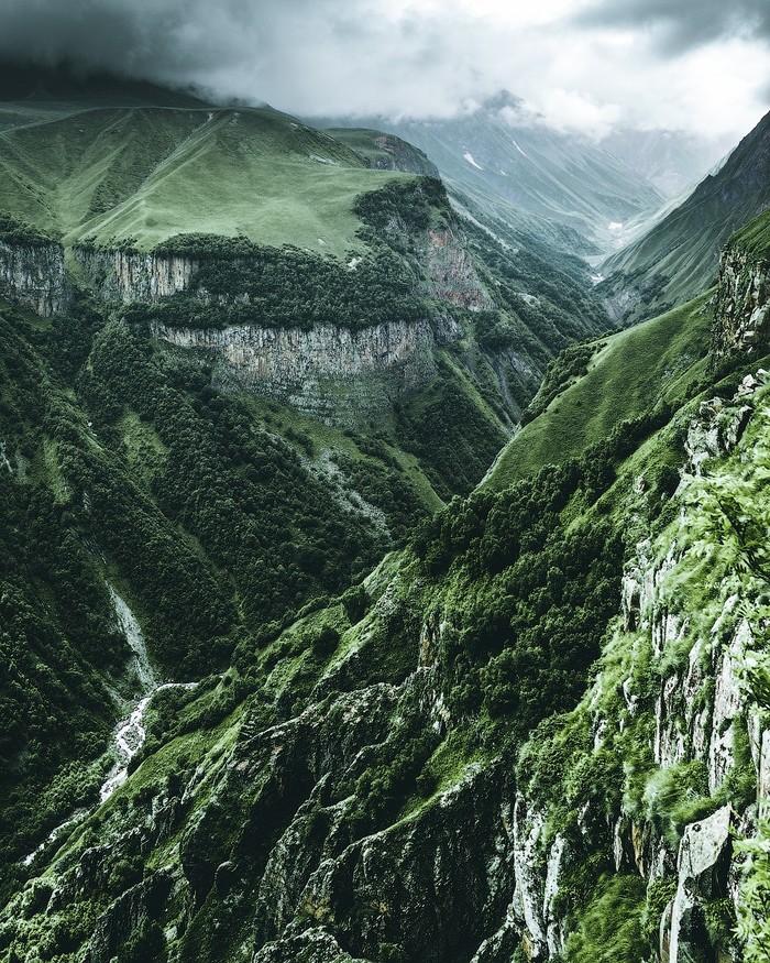 Военно-Грузинская дорога Пейзаж, Горы, Туман, Природа
