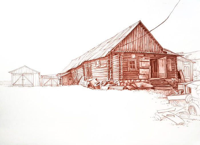 Домики 2 Арт, Искусство, Рисунок, Рисунок карандашом, Рисунок ручкой, Дом, Длиннопост