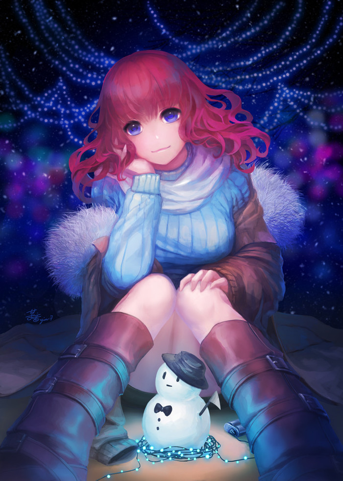 Зима близко Anime Art, Рисунок, Девушки, Зима, Снеговик
