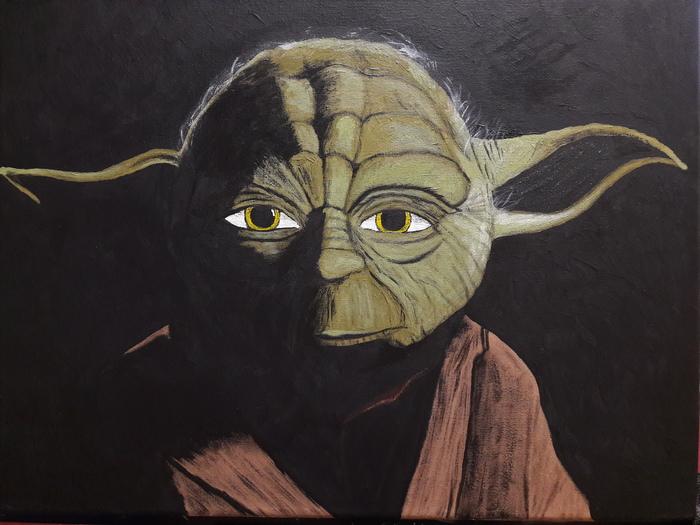 Подарок Рисование, Подарок, Своими руками, Картина, Длиннопост, Йода, Star Wars