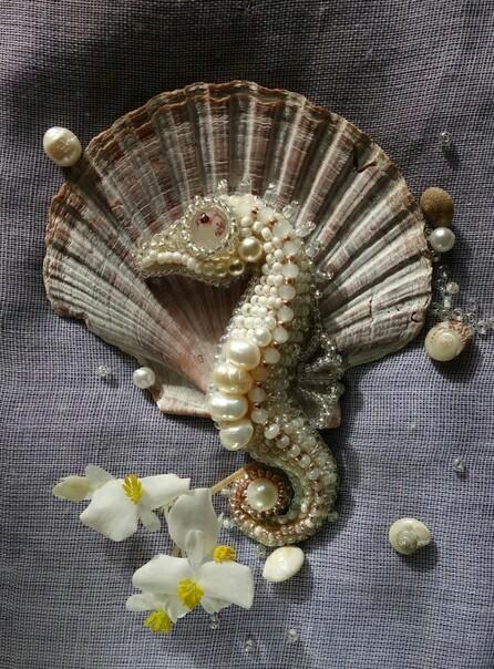 Жемчужный Конёк Handmade, Своими руками, Брошь, Морской конек, Рукоделие без процесса, Жемчуг, Длиннопост