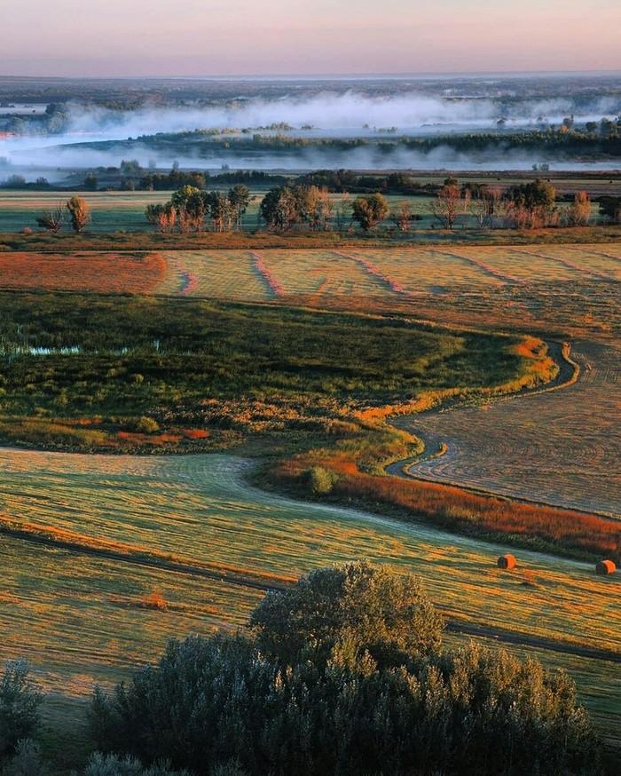Туманное утро над рекой Дон, Волгоградская область.