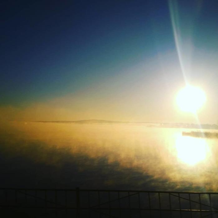 Лучегорск, горячее водохранилище, утро Лучегорск, Утро, Фотография