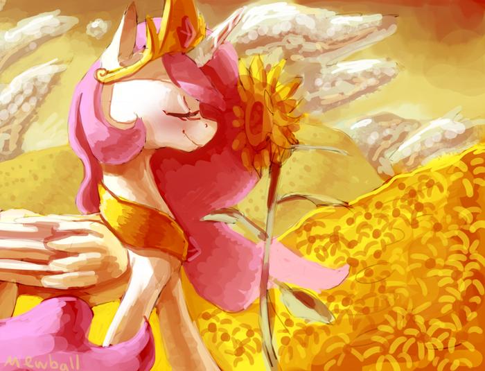 Sunflowers My Little Pony, Princess Celestia, Подсолнух, Арт