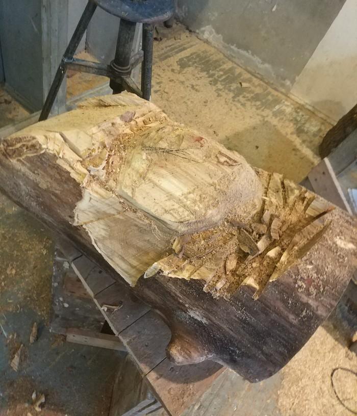 Первый опыт с резьбой по дереву Скульптура, Резьба по дереву, Голова, Длиннопост