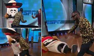 Боксёр-тяжеловес извинился за то, что сломал челюсть человеку в костюме талисмана во время передачи Боксёр, Тяжеловес, Спорт, Удар, Шоу-Бизнес, Видео