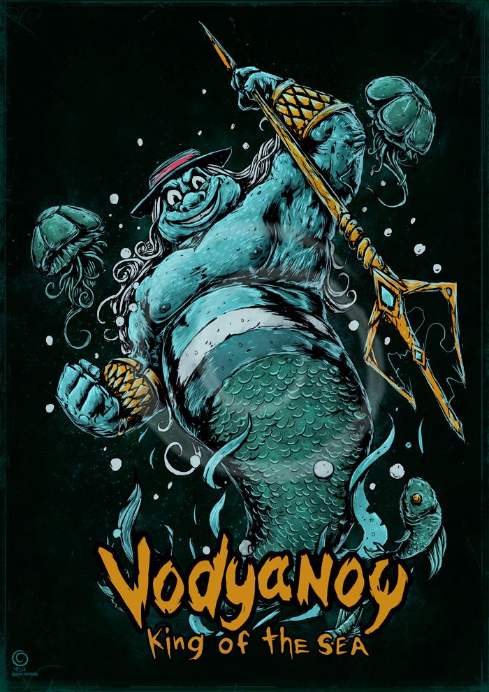 Водяной Водяной, Летучий корабль, Принт, Длиннопост, Рисунок, Цифровой рисунок, Мультфильм, Советские мультфильмы