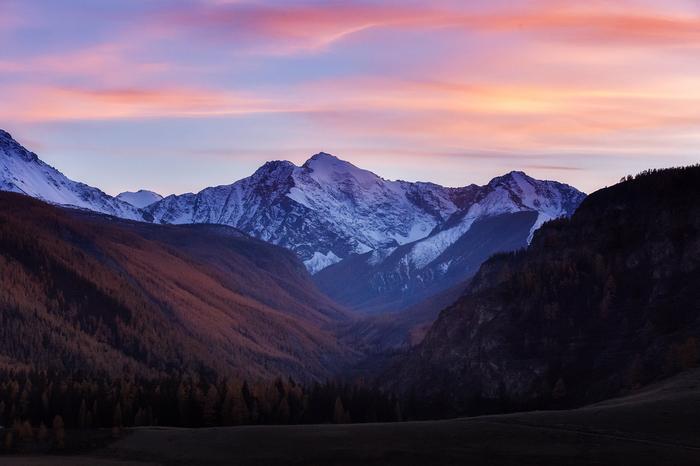 Умиротворение и закат Горы, Алтай, Природа, Пейзаж, Закат, Осень, Небо, Фотография