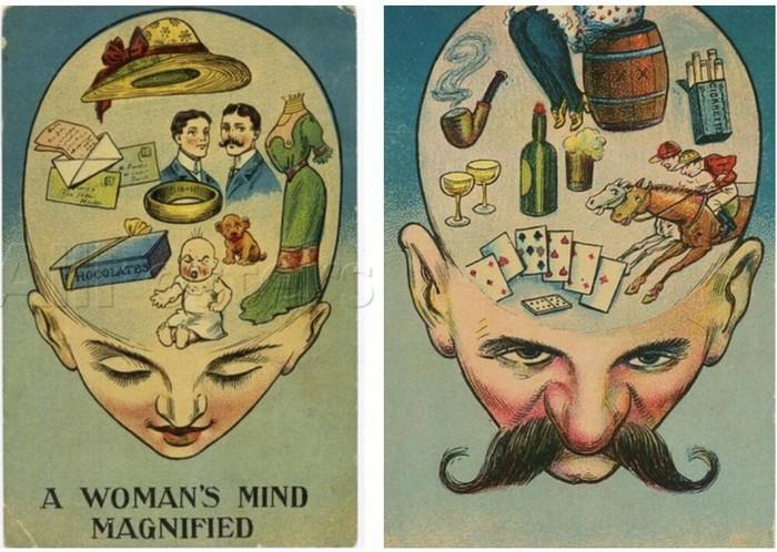 Женский и мужской разум - английские открытки 1905 года.