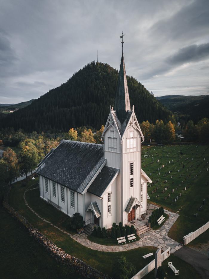Норвегия, церковьSingsаs Фотография, Путешествия, Квадрокоптер, Норвегия, Церковь, Религия, Кладбище, Природа