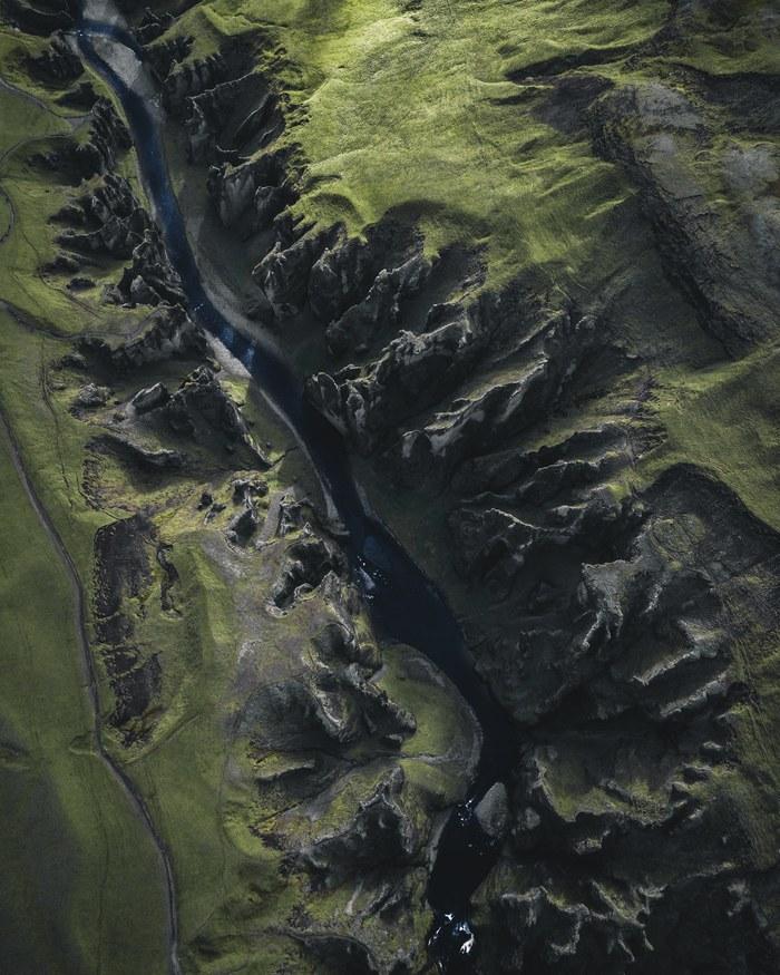 Исландия, каньон Fjadrargljufur Фотография, Путешествия, Исландия, Каньон, Ледниковый период, Природа, Квадрокоптер, Длиннопост
