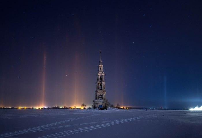 Затопленная колокольня Никольского собора в Калязине Калязин, Колокольня, Волга, Фотография, Зима, Снег, Ночь, Длиннопост