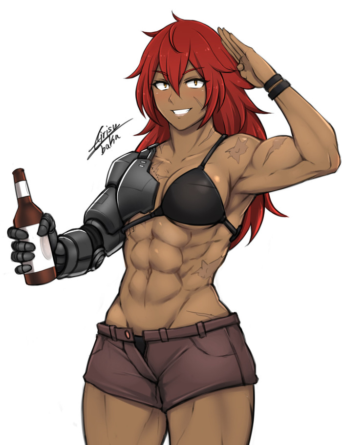 Tess Airisubaka, Арт, Крепкая девушка, Аниме, Anime Art, Спортивные девушки