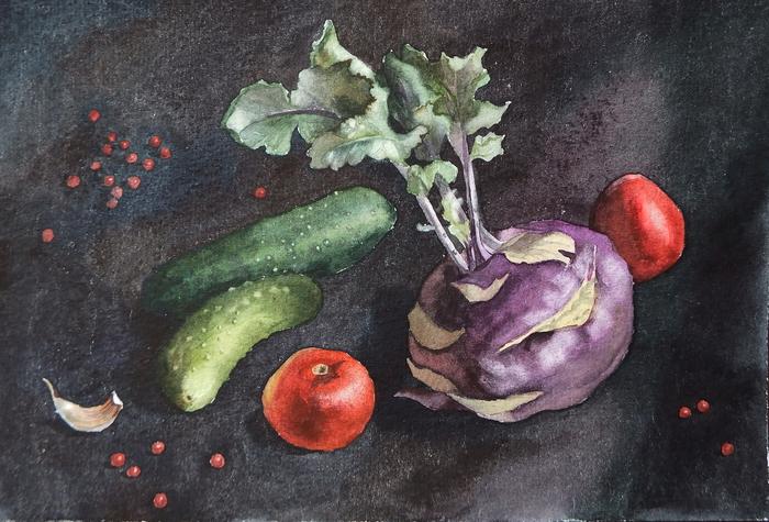 Овощи на чёрном Акварель, Натюрморт, Овощи, Рисунок