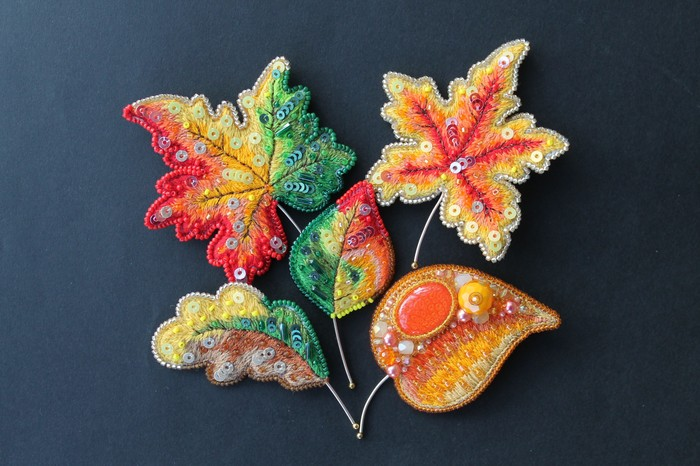 Осенние листочки Hikupta, Осень, Листья, Брошь, Кленовый лист, Украшения, Украшения ручной работы, Длиннопост