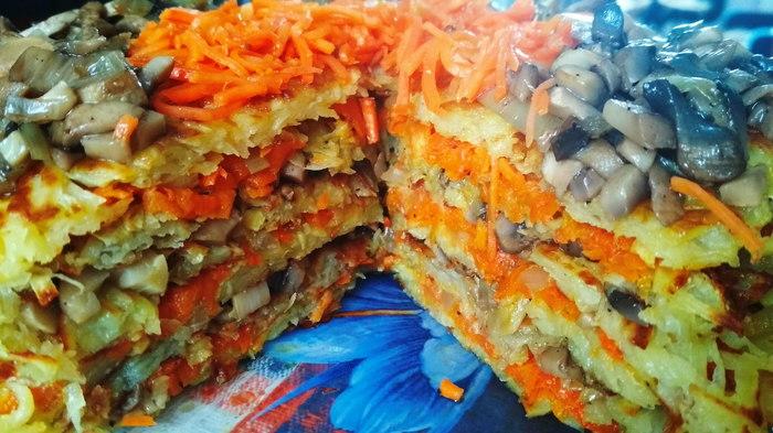 Картофельный торт с грибами и морковью Видео, Рецепт, Картофельный торт, Торт с грибами, Закуска