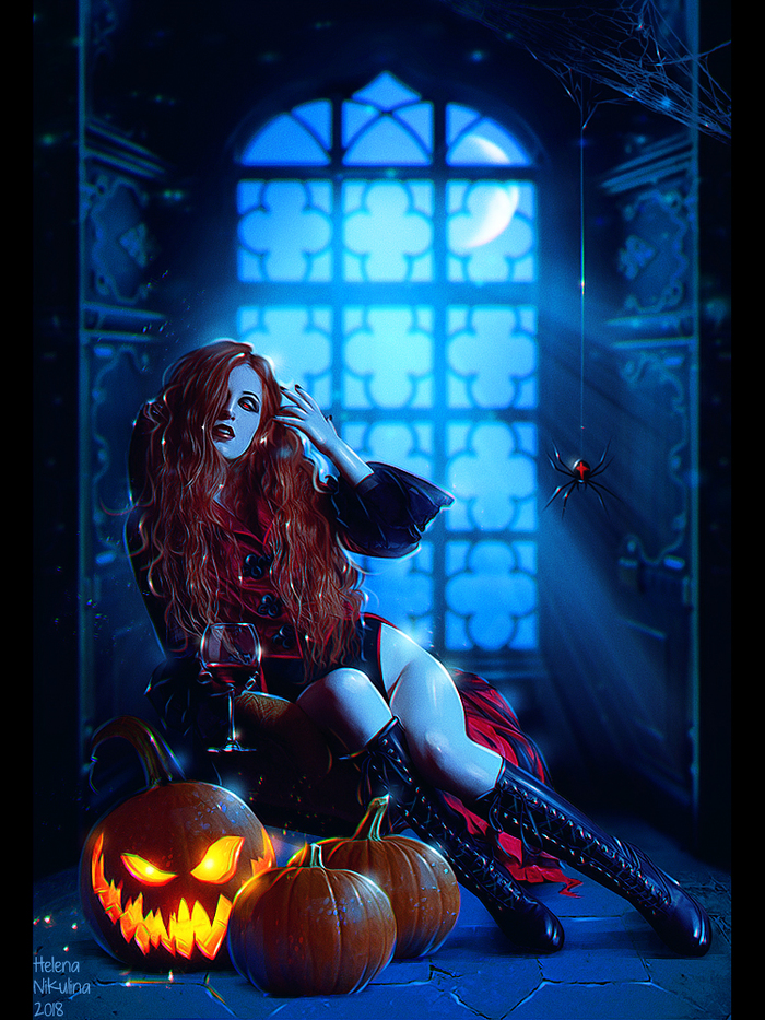 Halloween 2018. Традиционный ежегодный арт на Хэллоуин. Арт, Елена Никулина, Хэллоуин, Красивая девушка, Вампиры, Тыква, Паук, Ночь
