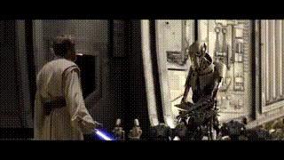 В Мести Ситхов можно увидеть, как на заднем плане один дроид говорит другому посмотреть на генерала Гривуса, достающего световые мечи.