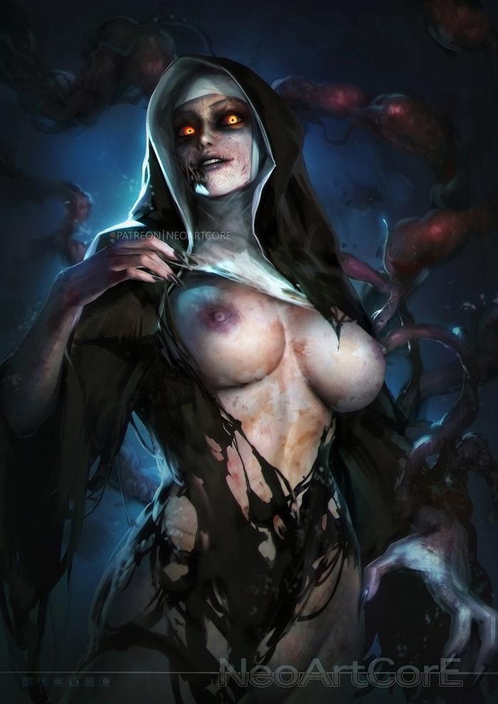 Demon Nun Арт, Эротика, Заклятие, Ужас, Монашка, DTPArt