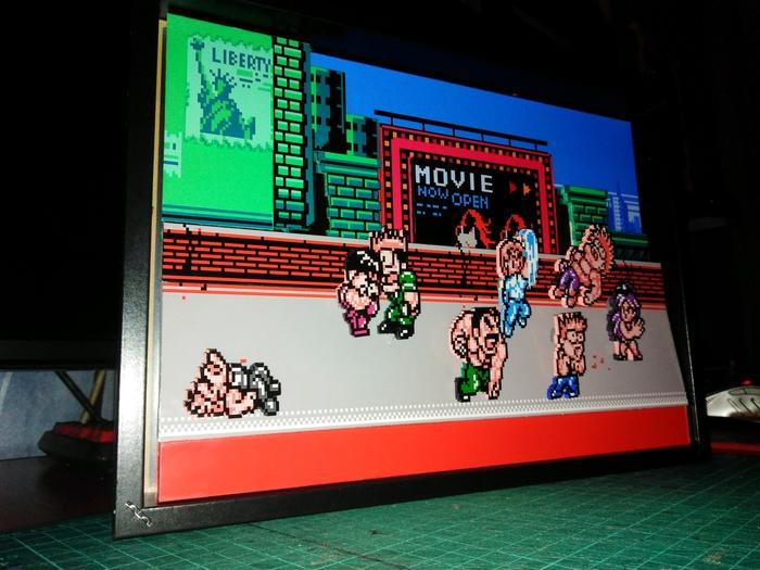 "Диорама по мотивам игры ""Mighty Final Fight"" на NES Диорама, Nes, Mighty final fight, Pixel art, Своими руками, Компьютерные игры, Длиннопост"