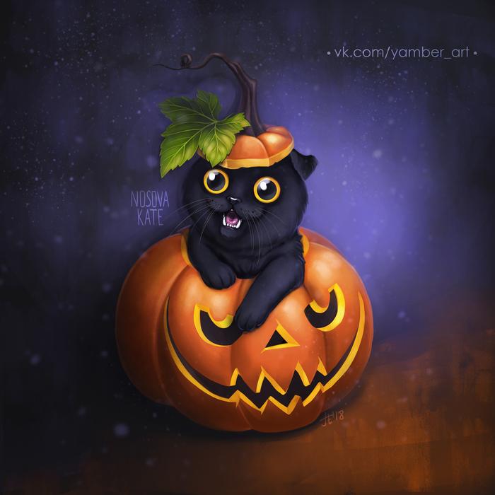 Котик в тыкве Кот, Тыква, Halloween2018, Арт, Цифровой рисунок, Видео, Рисунок, Хэллоуин, Этапы