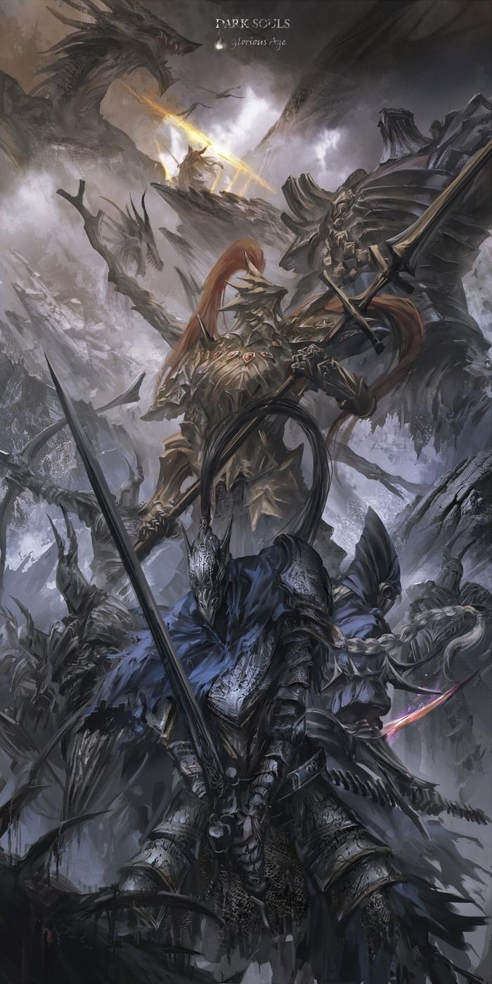 Dark souls Dark Souls, Арт, Арториас, Черный рыцарь, Dragon Slayer Ornstein, Гох, Сиаран, Гвин