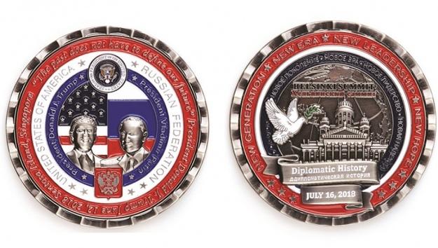 В США к саммиту Трампа и Путина выпустили монету с тремя ошибками Политика, Трамп, Путин, Саммит, Граммар-Наци