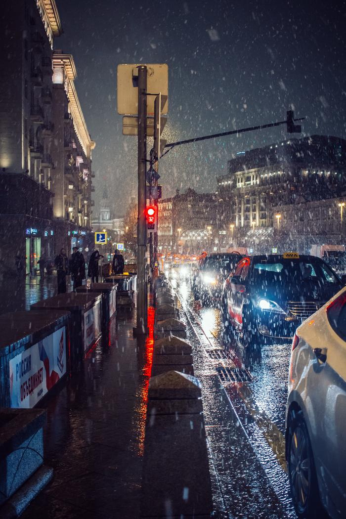 Снег. Первый Фотография, Снег, Москва, Canon, Осень, Машина, Ночь