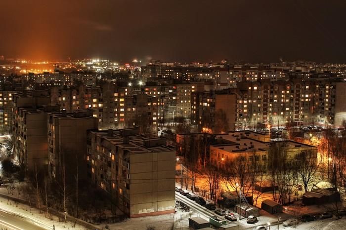 Вечерние огни спального района Спальный район, Вечер, Свет, Фотография, Начинающий фотограф, Длиннопост