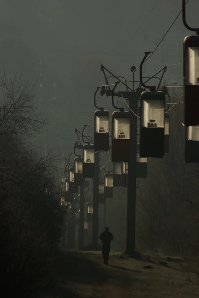Утренний туман. Канатная дорога, Харьков, Украина, Фотография