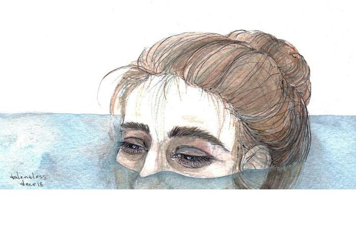 Вода Арт, Акварель, Иллюстрации, Девушки, Вода, Графика, Рисунок, Взгляд