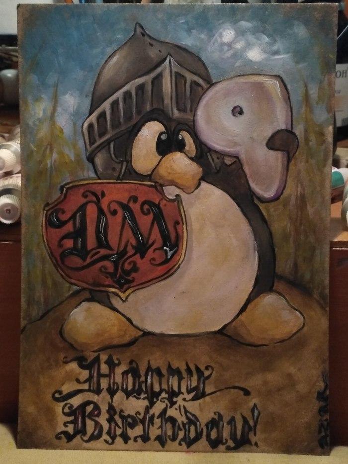 Открытка знакомому сисадмину на ДР Линуксоиды, Пингвины, Dungeons & Dragons, Поздравление с Днём Рождения, Gentoo, Открытка