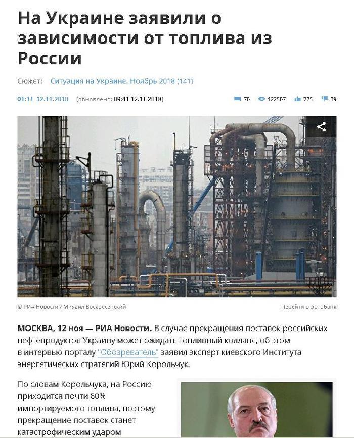 Россия - агрессор, но нефтепродуктов дай. Украина, Политика, Нефть, Россия, Беларусь