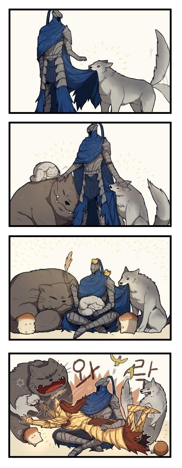 Все животные любят Арториаса Dark Souls, Арториас, Dragon Slayer Ornstein, Сиф Великий волк, Комиксы, Длиннопост