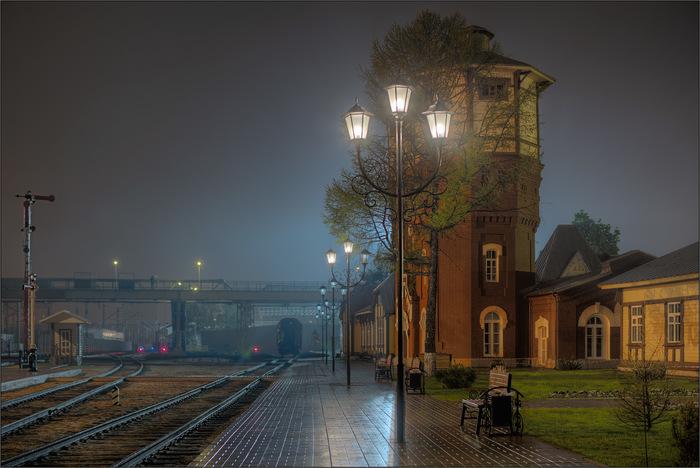 Осенний вечер в стиле XIX века Железная Дорога, Станция, Водокачка, Туман, Ночная съемка, Москва